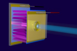 Artistic impression of how the optical transducer works